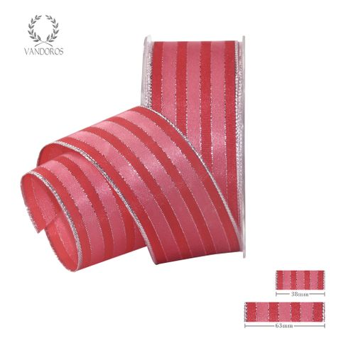 ROYAL TAFFETA WIDE STRIPE WATERMELON/CORAL