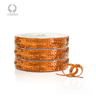 SEQUIN TRIM COPPER 6mmX25M