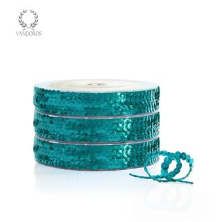 SEQUIN TRIM BLUE 6mmX25M
