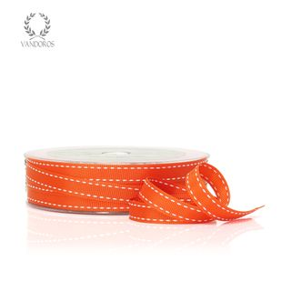 GROSGRAIN STITCH ORANGE/WHITE 10mmX25M