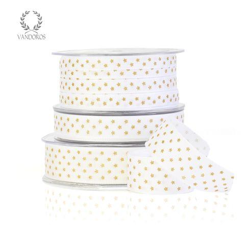 TWINKLE STAR GROSGRAIN WHITE/GOLD