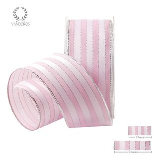 ROYAL TAFFETA WIDE STRIPE LIGHT PINK/WHITE 63mmX25M