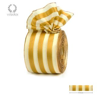 ROYAL TAFFETA WIDE STRIPE IVORY/GOLD 63mmX25M