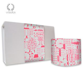 SKINNY WRAP CHRISTMAS IN THE CITY UNCOATED NEON PINK/WHITE 80gsm 10cmX60M