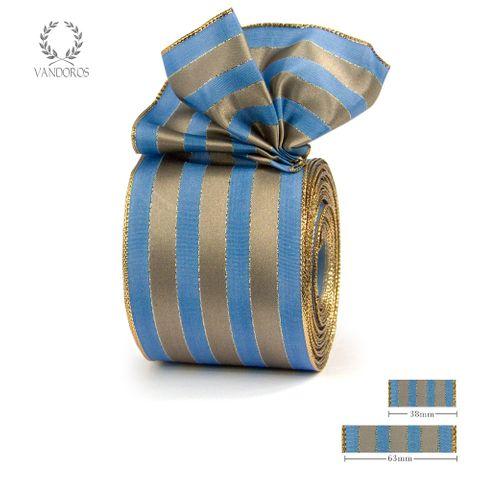 ROYAL TAFFETA WIDE STRIPE BLUE/LATTE