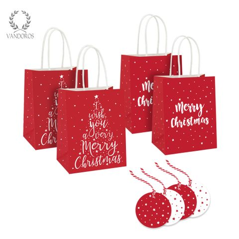 MERRY CHRISTMAS BAG +TAG RED/WHITE - PACK/4