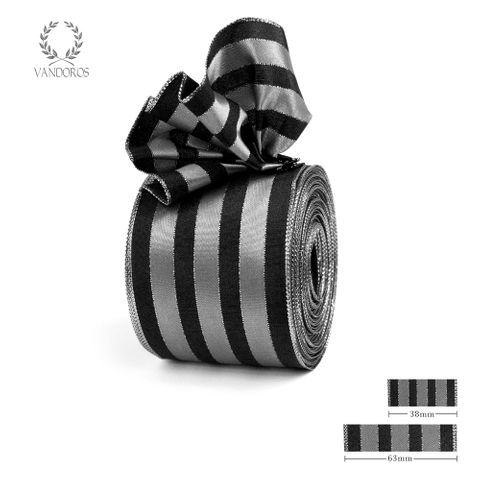 ROYAL TAFFETA WIDE STRIPE BLACK/SILVER