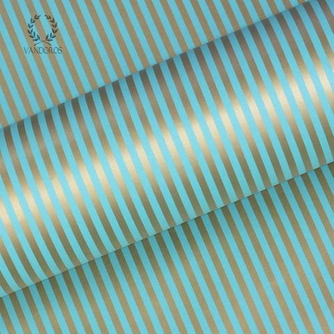 CANDY STRIPE TURQUOISE/GOLD 80gsm