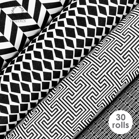 GEOMETRIC BLACK/WHITE UNCOATED COLLECTION 80gsm