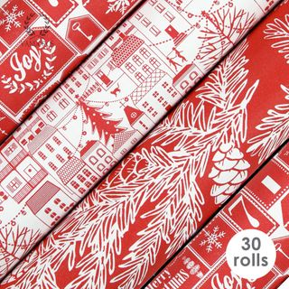 CHRISTMAS CITY RED UNCOATED COLLECTION 80gsm 60cmX3M 30 ROLLS