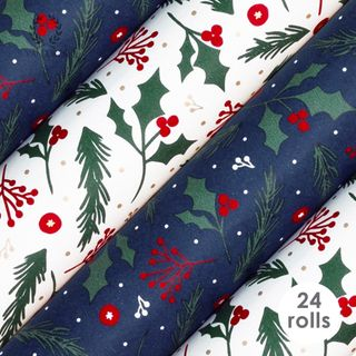 HOLLY & BERRIES COLLECTION 80gsm 76cmX2.5M 24 ROLLS