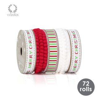 MERRY CHRISTMAS GREEN/RED RIBBON TRAY 16mmX2.5M 72 ROLLS