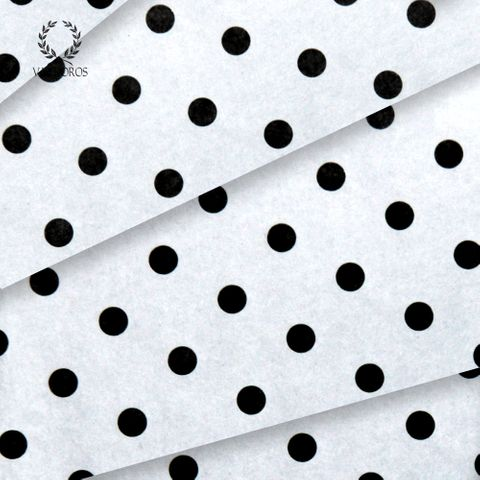 WHITE WITH BLACK DOTS SATIN WRAP TISSUE PAPER 240 SHEETS