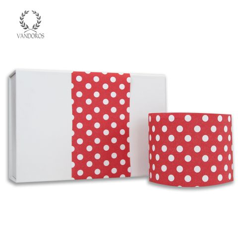 LARGE SPOTS UNCOATED SKINNY WRAP RED/WHITE 80gsm