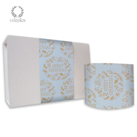 CHRISTMAS WREATH UNCOATED SKINNY WRAP EGGSHELL BLUE/GOLD 80gsm