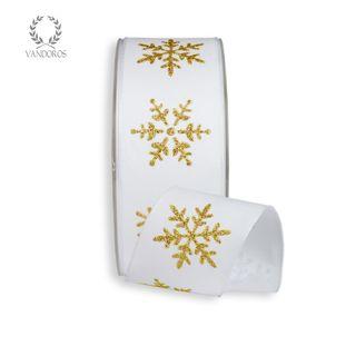 CRYSTAL SNOWFLAKE PRINTED TAFFETA WHITE/GOLD 38mmX25M