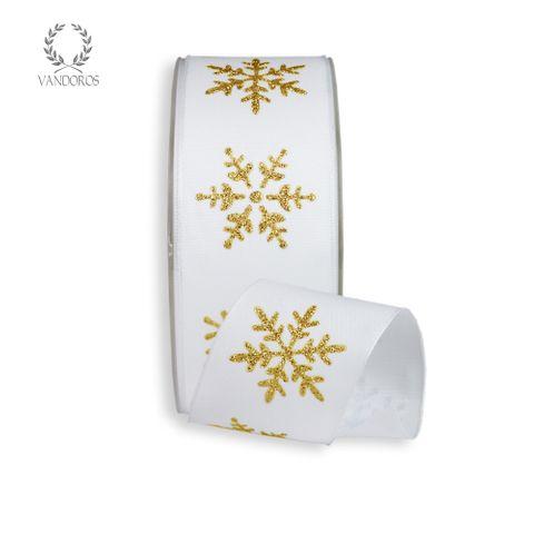 CRYSTAL SNOWFLAKE PRINTED TAFFETA WHITE/GOLD