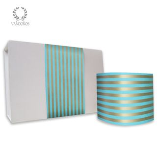 CANDY STRIPE UNCOATED SKINNY WRAP TURQUOISE/GOLD 80gsm 10cmX60M