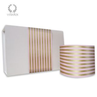 CANDY STRIPE UNCOATED SKINNY WRAP CAMEO PINK/GOLD 80gsm 10cmX60M