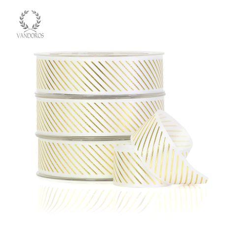 FOIL SATIN PINSTRIPE WHITE/GOLD
