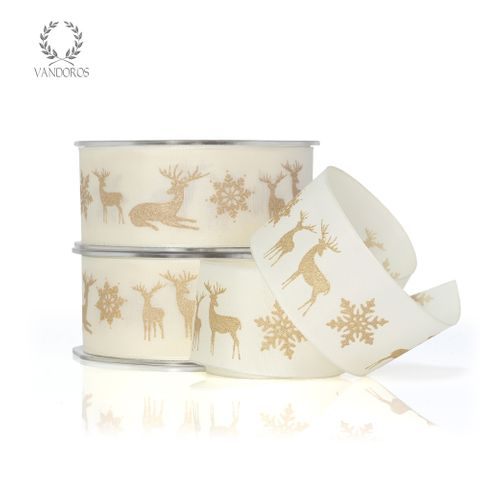 TAFFETA WITH REINDEER PRINT IVORY/GOLD