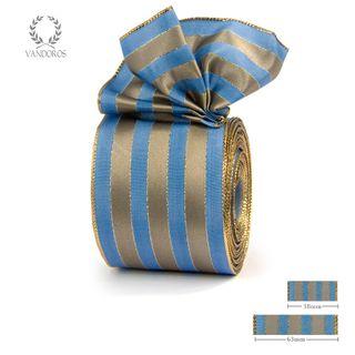 ROYAL TAFFETA WIDE STRIPE BLUE/LATTE 63mmX25M