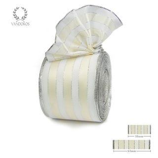 ROYAL TAFFETA WIDE STRIPE WHITE/CANDLELIGHT 63mmX25M