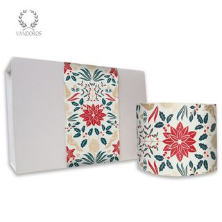 SKINNY WRAP UNCOATED POINSETTIA TRADITIONAL RED/GREEN/GOLD 80gsm 10cmX60M