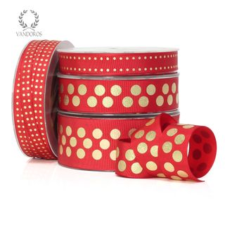 ZOE FLORENCE SPOTS RED/GOLD 15mmX50M
