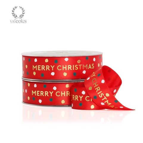 JOLLY CHRISTMAS SATIN RED/GOLD