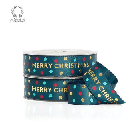 JOLLY CHRISTMAS SATIN EVERGREEN/GOLD