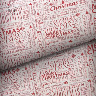 MERRY CHRISTMAS UNCOATED RED/WHITE 80gsm 60cmX60M