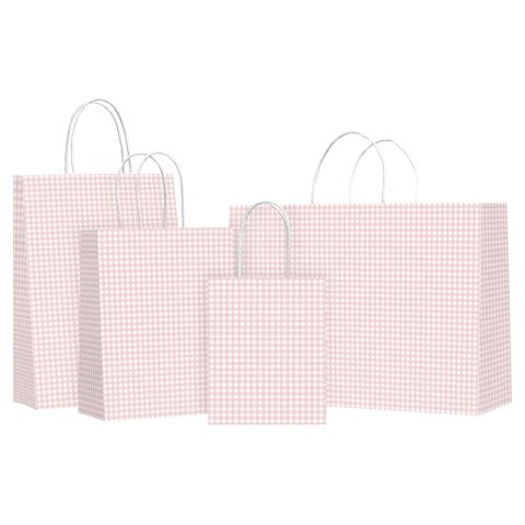 TWISTED HANDLE BAG GINGHAM CHAMPAGNE