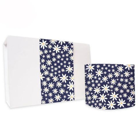 SKINNY WRAP UNCOATED DAISY CHAIN NAVY 80gsm