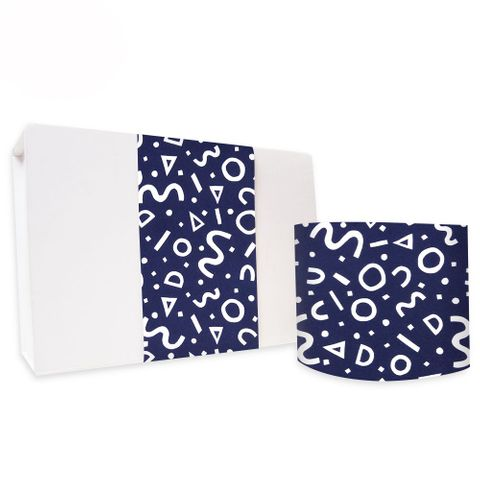 SKINNY WRAP UNCOATED SQUIGGLE NAVY 80gsm
