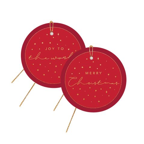 CHRISTMAS STAR GIFT TAG RED PACK OF 6