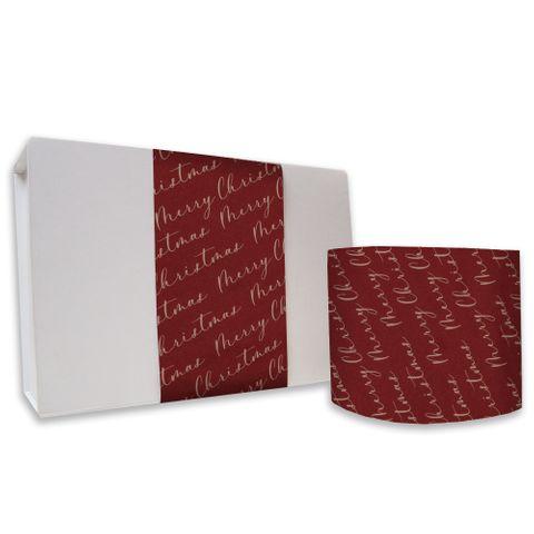 SKINNY WRAP MERRY CHRISTMAS SCRIPT SPICE RED/KRAFT 70gsm