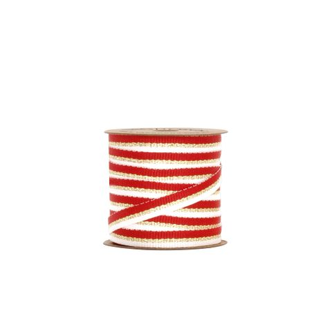 BOBBIN - METALLIC STRIPE GROSGRAIN RED/GOLD