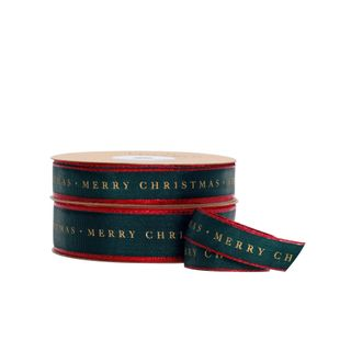 TRADITIONAL MERRY CHRISTMAS TAFFETA GREEN/RED EDGE 15mmX25M