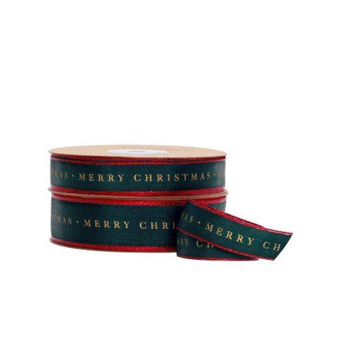 TRADITIONAL MERRY CHRISTMAS TAFFETA GREEN/RED EDGE