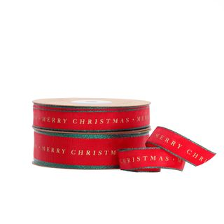 TRADITIONAL MERRY CHRISTMAS TAFFETA RED/GREEN EDGE 15mmX25M