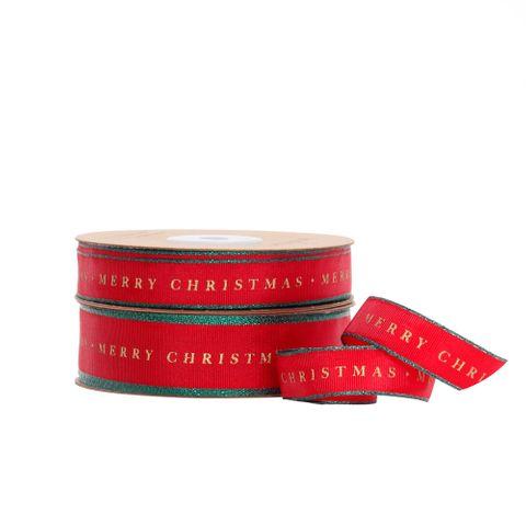TRADITIONAL MERRY CHRISTMAS TAFFETA RED/GREEN EDGE