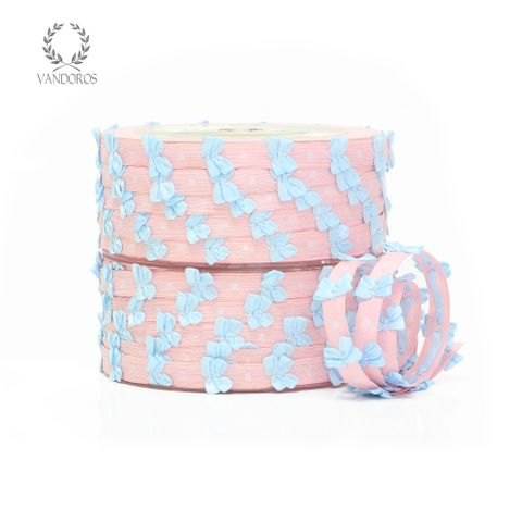 BABY BOWS PINK GROSGRAIN w/BLUE BOWS