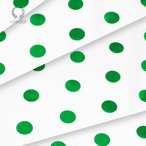 WHITE/GREEN HOT SPOT SATIN WRAP TISSUE PAPER 200 SHEETS