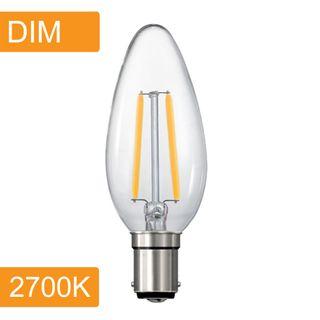 Candle C35 4w LED Filament - Dim - B15 - 2700K