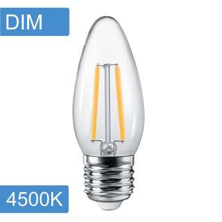 Candle C35 4w LED Filament - Dim - E27 - 4500K