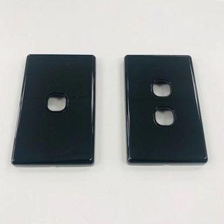 HEM 2 GANG PLATE WITH FRAME - BLACK
