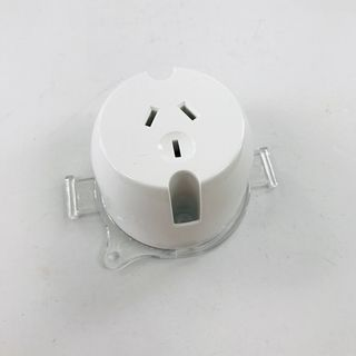 HEM SURFACE SINGLE SOCKET WITH MOUNT PLAATE - 10A, WHITE