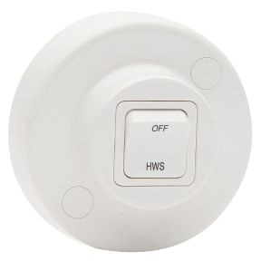 Round Surface 2-Way Hot Water Switch, 20A, 250V, White
