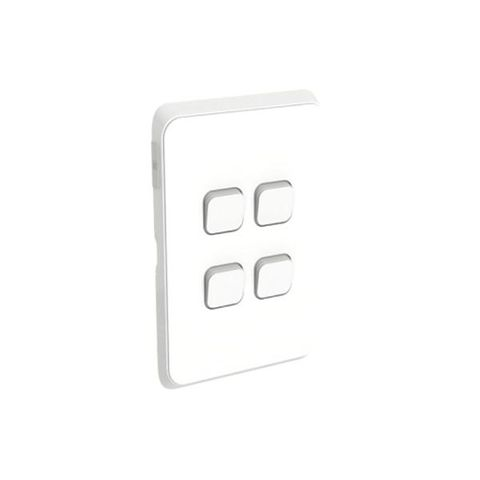 Iconic - 4 Gang Vertical Switch Assembly20A/16AX, 250V - Vivid White